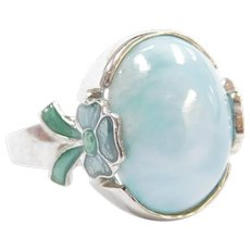 Sterling Silver Larimar Ring with Light Blue Enamel Bow Accents