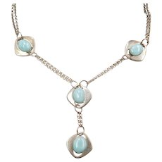 "16"" - 16 1/2"" Larimar Necklace Sterling Silver"