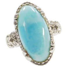 Sterling Silver Larimar Ring with Ornate Setting