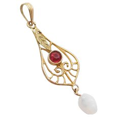 Edwardian Red Glass and Carved Opal Lavaliere Pendant 10k Yellow Gold ~ Lavalier