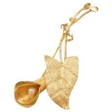 Victorian 14k Gold Seed Pearl Flower Leaf Pin / Brooch