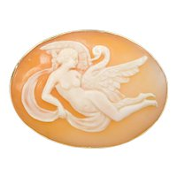 Rare Edwardian Leda and the Swan Cameo Greek Mythology Pin / Brooch / Pendant 14k Gold