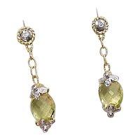14k Gold Two-Tone Lemon Quartz and Diamond Dangle Earrings