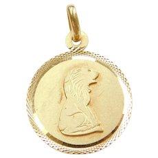 18k Gold Leo Zodiac Pendant / Charm Lion July 23- August 22nd