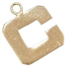 14k Gold Block Letter C Charm