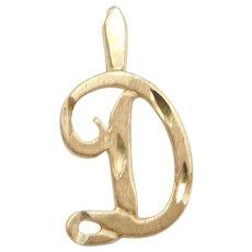 14k Gold Letter D Charm