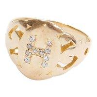 Edwardian Diamond Letter H Signet 10k Rose Gold Ring