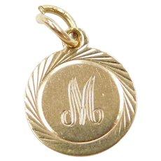 14k Gold Letter M Charm
