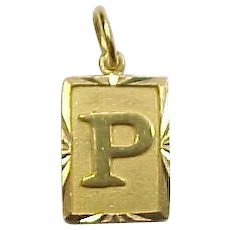 Vintage 22k Gold Letter P Charm