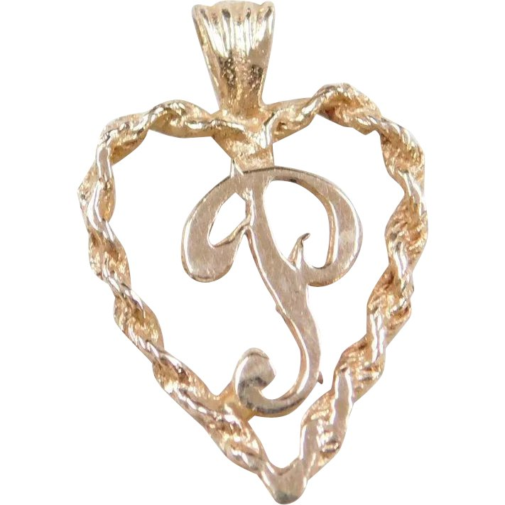 Vintage 14k Gold Letter P Heart Charm Arnold Jewelers
