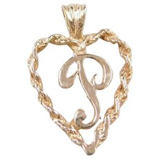 Vintage 14k Gold Letter P Heart Charm