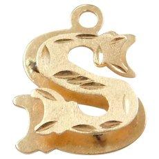 Vintage 14k Gold Letter S Charm