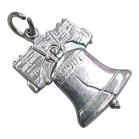 Vintage Liberty Bell Charm Sterling Silver