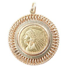 Vintage 14k & Fine Gold 1928 Liberty Indian Head Coin Pendant