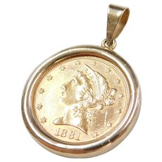 Liberty Dollar Pendant Antique Coin 1904 Pauline Street Ruby Lane