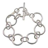Vintage Sterling Silver Round Link Bracelet
