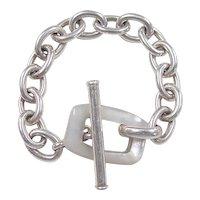 Vintage Sterling Silver Link Bracelet ~ Mother of Pearl Toggle