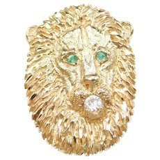 14k Gold Big Lion Slide Pendant with .37 ctw Emeralds and Moissanite