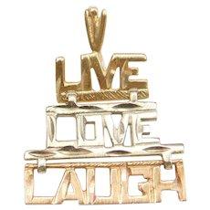 14k Gold Tri-Color Live, Love, Laugh Charm
