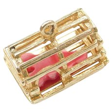 14k Gold Lobster Trap Charm with Red Lobster Inside