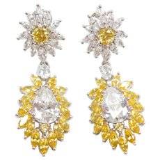 Long Dressy 21.50 ctw White and Yellow Faux Diamonds Dangle Cluster Earrings Sterling Silver
