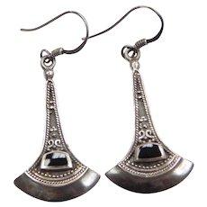 Sterling Silver Long Onyx Earrings