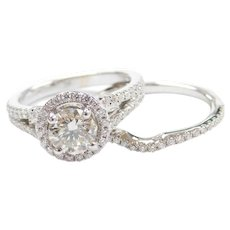 1.72 ctw Diamond Halo Engagement Ring 14k White Gold with Matching Wedding Band