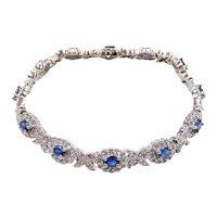 Sapphire and Diamond 4.08 ctw Halo Bracelet 14k White Gold