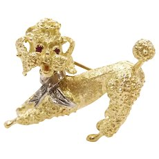 Vintage Ruby and Diamond .05 ctw Poodle Dog Pin / Brooch