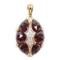 Designer Rubellite Pink Tourmaline and Diamond 16.33 ctw Domed Pendant 18k Gold Two-Tone Bellarri