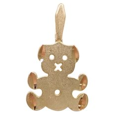 Teddy Bear Charm 14k Gold