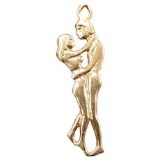 Romantic Dancing Couple / Embracing Lovers Charm 14k Gold