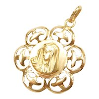 Religious Virgin mary Charm / Pendant 18k Gold