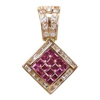 Designer Ruby and Diamond 2.25 ctw Geometric Pendant 18k Gold Bellarri