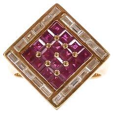 Designer Ruby and Diamond 2.00 ctw Geometric Ring 18k Gold Bellarri