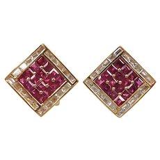 Designer Ruby and Diamond 4.00 ctw Geometric Earrings 18k Gold Bellarri