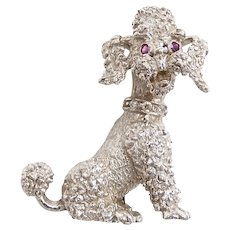 Vintage Ruby and Diamond .05 ctw Sitting Poodle Pin / Brooch / Pendant 14k White Gold