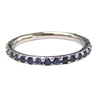 Sapphire .66 ctw Eternity Band Ring 14k White Gold Size 4