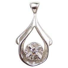 Vintage Diamond .045 Carat Illusion Set Teardrop Pendant 14k White Gold
