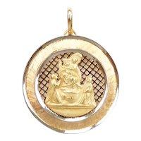 Religious Baptism Charm / Pendant 18k Gold Two-Tone