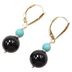 Black Onyx and Turquoise Bead Dangle Earrings 14k Gold