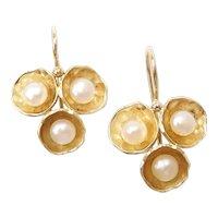 Cultured Pearl Drop Earrings 14k Gold