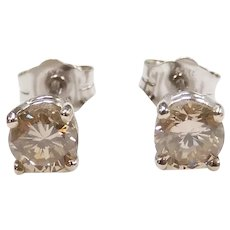 Champagne / Chocolate Diamond .79 ctw Stud Earrings 14k White Gold