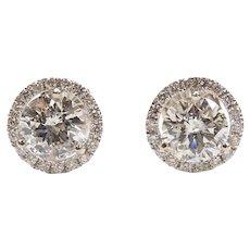 Diamond 2.30 ctw Halo Stud Earrings 14k White Gold