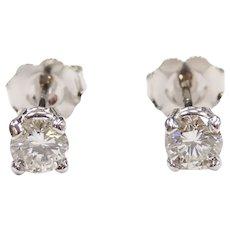 Diamond .50 ctw Stud Earrings 14k White Gold
