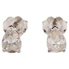 Diamond .87 ctw Pear Stud Earrings 14k White Gold