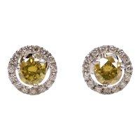 Yellow and White Diamond .69 ctw Halo Stud Earrings 14k White Gold
