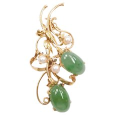 Vintage Jade and Cultured Pearl Pin / Brooch / Pendant 14k Gold