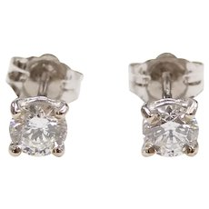 Diamond .50 ctw Si2 Clarity, G Color Stud Earrings 14k White Gold