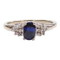 Sapphire and Faux Diamond .76 ctw Ring 10k White Gold